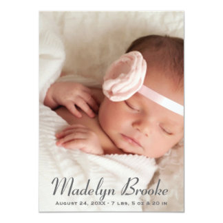 Photo Birth Announcement | Script + Polka Dots