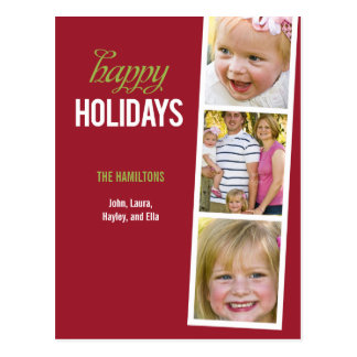 Photo Booth Style Holiday Photo Card Postcard