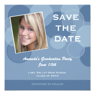 "Photo Graduation Party Save the Date 5.25"" Square Invitation Card"