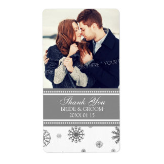 Photo Grey White Snowflakes Winter Wedding Label Shipping Label