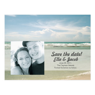 Photo Save the Date Beach Wedding Postcard