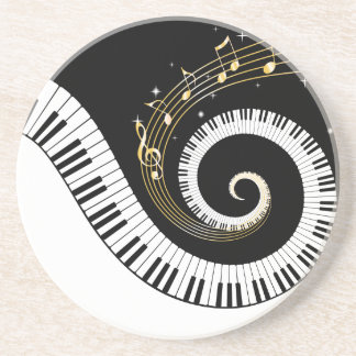 Piano Keys and Gold Music Notes Beverage Coaster