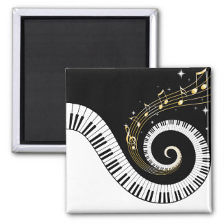 Piano Keys and Gold Music Notes Square Magnet