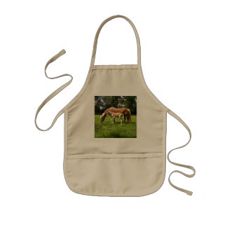 Picture Of A Horse And Her Foal Grazing Kids Apron