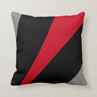 Pillow in modern abstract style, black, red & gray