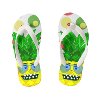 pineapple monster illustration kid's flip flops