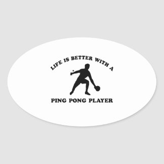 Ping Pong Vector Design Oval Sticker