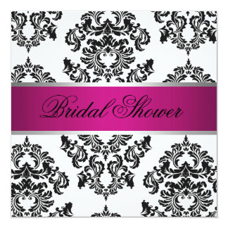 "Pink and Black Damask Bridal Shower 5.25"" Square Invitation Card"