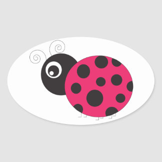 Pink and Black Ladybug Faded Oval Sticker