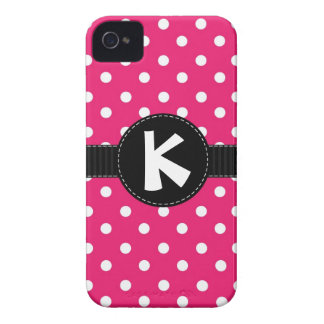 Pink and Black Polka Dot iPhone Case