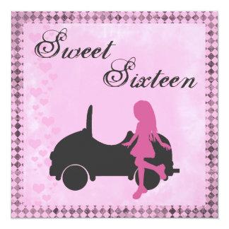 Pink and Black Sweet Sixteen Birthday Invitation