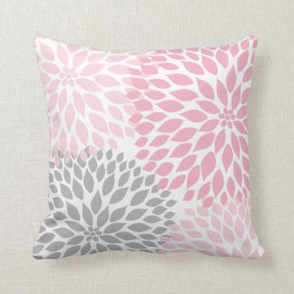 Pink and Gray Dahlia modern decor sofa pillow