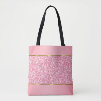 Pink And White Glitter With Gold Stripes Tote Bag