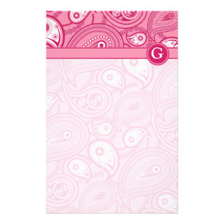 Pink and White Paisley Customized Stationery