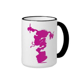 Pink Animal Silhouette Drumming Disney Ringer Coffee Mug
