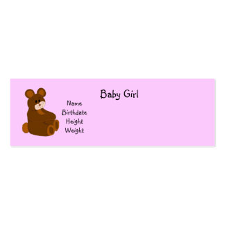 Pink Baby Girl Announcement Mini Business Card