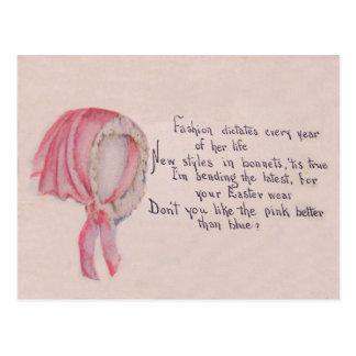 Pink Bonnet Easter Postcard