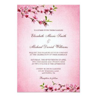 "Pink Cherry Blossoms Vintage Wedding 5"" X 7"" Invitation Card"