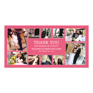 PINK COLLAGE   WEDDING THANK YOU CARD CUSTOMIZED PHOTO CARD