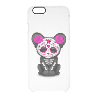 Pink Day of the Dead Sugar Skull Panther Cub Clear iPhone 6/6S Case