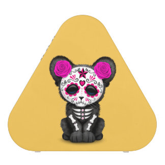 Pink Day of the Dead Sugar Skull Panther Cub Speaker