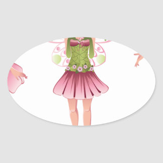 Pink Floral Fairy 3 Oval Sticker