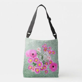 Pink Floral Soft Green Faux Glitter Tote Bag