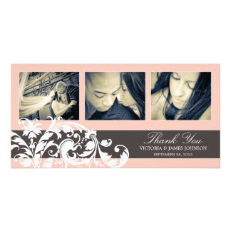 PINK FLOURISH   WEDDING THANK YOU CARD PICTURE CARD