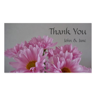 Pink Flowers Wedding Thank You Card Business Card