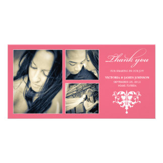 PINK FORMAL COLLAGE | WEDDING THANK YOU CARD CUSTOMIZED PHOTO CARD