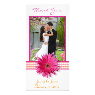 Pink Gerbera Daisy Plaid Ribbon Wedding Thank You Photo Cards