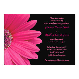 Pink Gerbera Wedding Invitation - Pink and Black