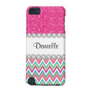 Pink Glitter Pastels Chevron 5G iPod Touch Case