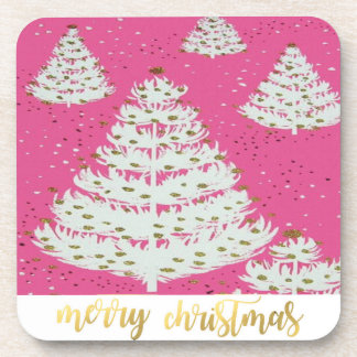 Pink Gold Glitter Christmas Holiday Coasters