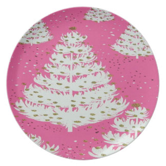 Pink Gold Glitter Christmas Holiday Melamine Plate