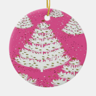 Pink Gold Glitter Christmas Holiday Tree Round Ceramic Ornament