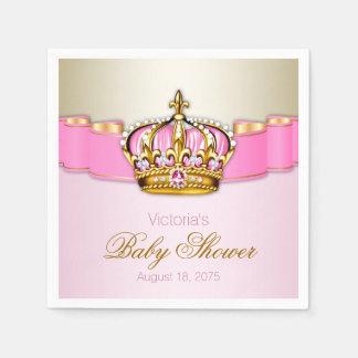 Pink Gold Princess Crown Baby Shower Disposable Napkin