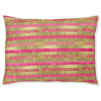Pink Gold Watercolor Stripes Large Dog Bed