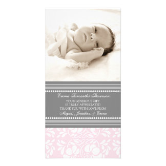 Pink Gray Thank You Baby Shower Photo Cards