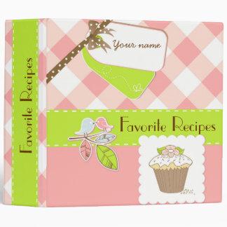Pink/Green Gingham Personalized Recipe Book 3 Ring Binder