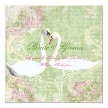 "Pink green vintage engagement bird 5.25"" square invitation card"