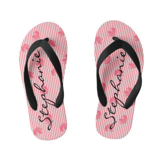 Pink Hearts & Stripes Kid's Flip Flops