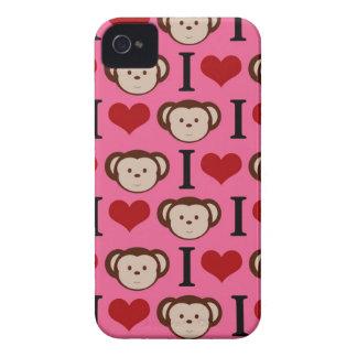 Pink I Love Monkeys Blackberry Case