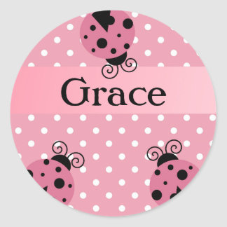 Pink Ladybug and Polka Dots Round Sticker