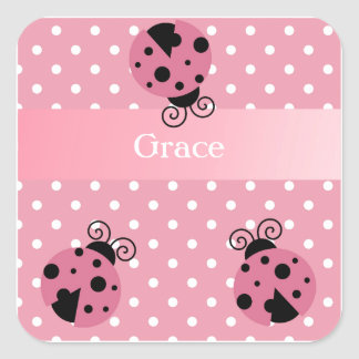 Pink Ladybug and Polka Dots Square Sticker