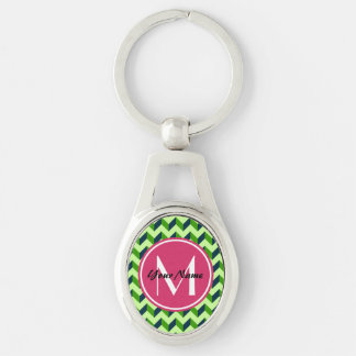 Pink Monogram Green Chevron Patchwork Pattern Silver-Colored Oval Keychain