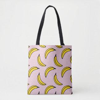 Pink Polka Dot Banana Print Tote Bag
