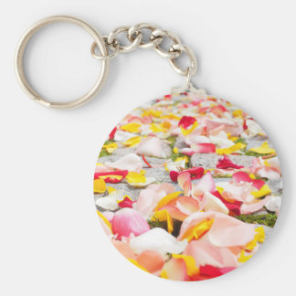 Pink Red and Yellow Rose Petals Basic Round Button Keychain