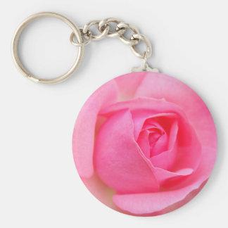 Pink rose basic round button keychain