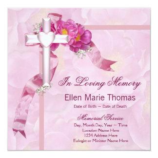 """Pink Rose Cross In Loving Memory Memorial 5.25"""" Square Invitation Card"""